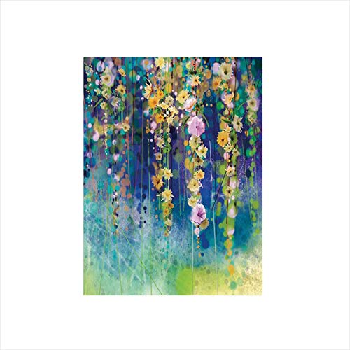 - Ylljy00 Decorative Privacy Window Film/Vines Flowers in Soft Colors Summer Garden Watercolor Artwork/No-Glue Self Static Cling for Home Bedroom Bathroom Kitchen Office Decor Indigo Mustard Green