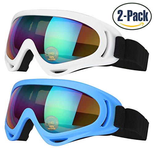 Ski Goggles, Pack of 2, Skate Glasses for Kids, Boys & Girls, Men & Women, Youth, with UV 400 Protection, Wind Resistance, Anti-Glare Lenses & Multi Color Frames, made by COOLOO