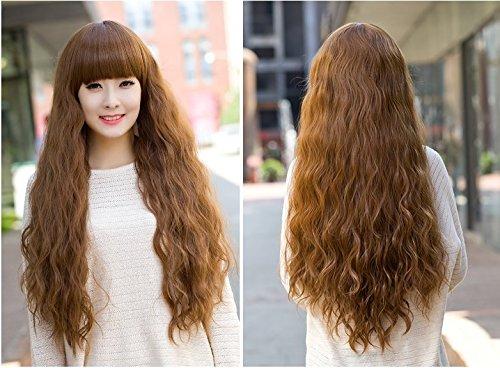 Fashion Women Hair Long Wavy Light Brown Cosplay Full Wigs Neat Bangs (Brown)