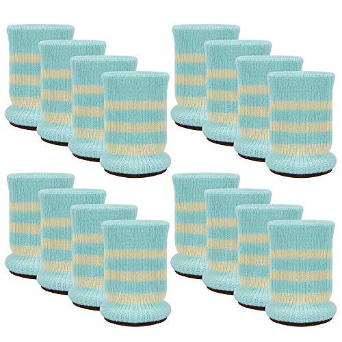 Outgeek Furniture Socks 16 Pcs Chair Leg Socks Anti-Skid Wool Knitted Chair Leg Floor Protector Thick Bottom Furniture Leg Covers (Light Blue Stripe)