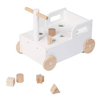 Amazon.com: Carro de madera blanco 2 en 1 para niños con ...