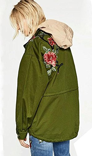 Estilo Flores Jacket Verde Pájaros De Calle Moda Coat Bombardero Militar Bordado Para Clásico Mujer Verde La Minetom Chaqueta 1wOqBx