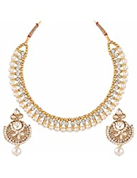Efulgenz Indian Bollywood Antique Ethnic Gold Tone Traditional Designer Jewelry Pearl Choker Necklace Set for Women and Girls