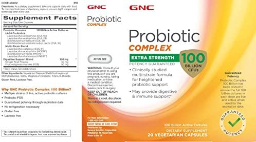 Amazon.com: GNC Probiotic Complex Extra Strength with 100 Billion CFUs, 20  Capsules, Daily Probiotic Support: Health & Personal Care