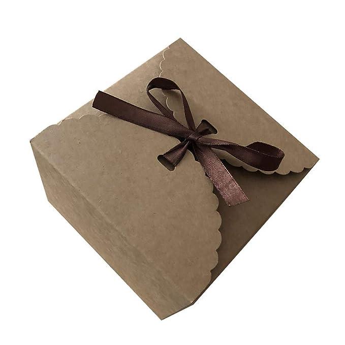 LAAT 5pcs Caja de pastel de papel kraft Caja de papel de galletas Cajas de regalo: Amazon.es: Hogar