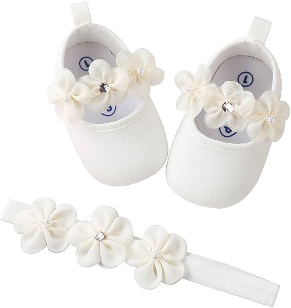 Bébé Fille Chaussures Ballerines Dentelle+Bandeau Fleur Ensemble Anniversaire Baptême Cérémonie Bambin bebe 0 18mois Semelle Souple Anti dérapant