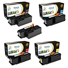 Catch Supplies 5 Pack Replacement Toner Cartridge Set for the Dell C1660 series (2 Black 332-0399, 1 Cyan 332-0400, 1 Magenta 332-0401, and 1 Yellow 332-0402 ) compatible with the Dell C1660W printers