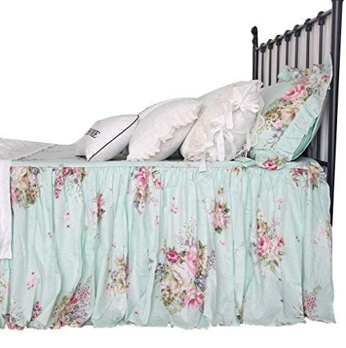 Queens House Shabby Green Printed Bed Spreads Bed Skirts Dust Ruffles Coverlets Bedspread Queen Size-A