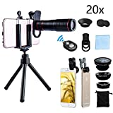 DDcafor Universal Smartphone Telephoto Camera Lens Kit, 20x Focus 15x Macro & 180°