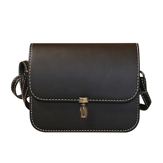 FDelinK Women Lady Satchel Handbag Leather Shoulder Bag Tote Messenger Crossbody Bag (Black)