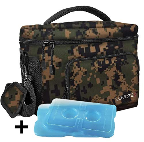Large Insulated Lunch Bag Cooler Tote With 2 Reusable Cooler Ice Packs Easy Pull Zippers, Detachable Shoulder Strap, Roomy Compartments For Lunch Box, Bottles, Containers, (Camo)