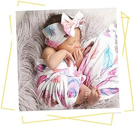 Newborn Receiving Blanket Headband Set - Unisex Soft Baby Swaddle Girl Boy Gifts