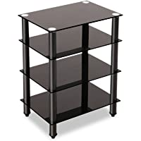 Artiss 4-Tier TV Media Stand Tempered Glass Shelves Storage for AV Components Console TV Box Xbox One PS4