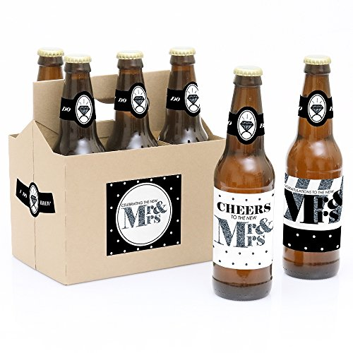 White Label Beer - Mr. & Mrs. - Silver - 6 Wedding Beer Bottle Labels with 1 Beer Carrier