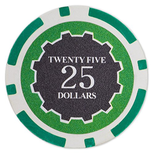 25 Green (Brybelly Eclipse Poker Chips Heavyweight 14-gram Clay Composite - Pack of 50 ($25 Green))