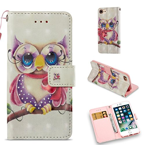 iPhone 7 Case/iPhone 8 Case,Fashion Magnetic Pu Leather Wallet Cover Shock Proof Kickstand Cover with Inner Soft Bumper Card Holder with Wrist Strap Compatible Apple iPhone 7 /iPhone 8 -Eagle