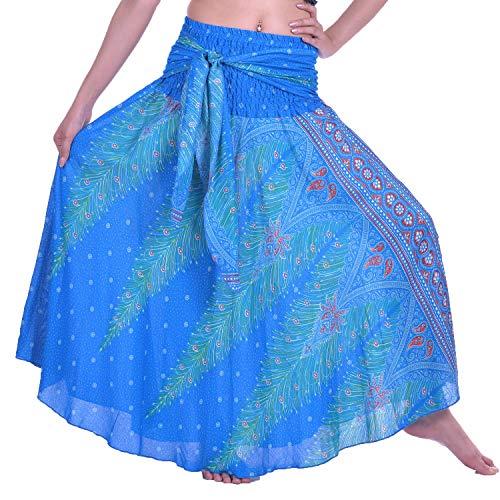 Boho Peacock Hippie Jupe Clair Lofbaz Gypsy Maxi Femmes Robe Bohme Bleu 1 Long Of0q4