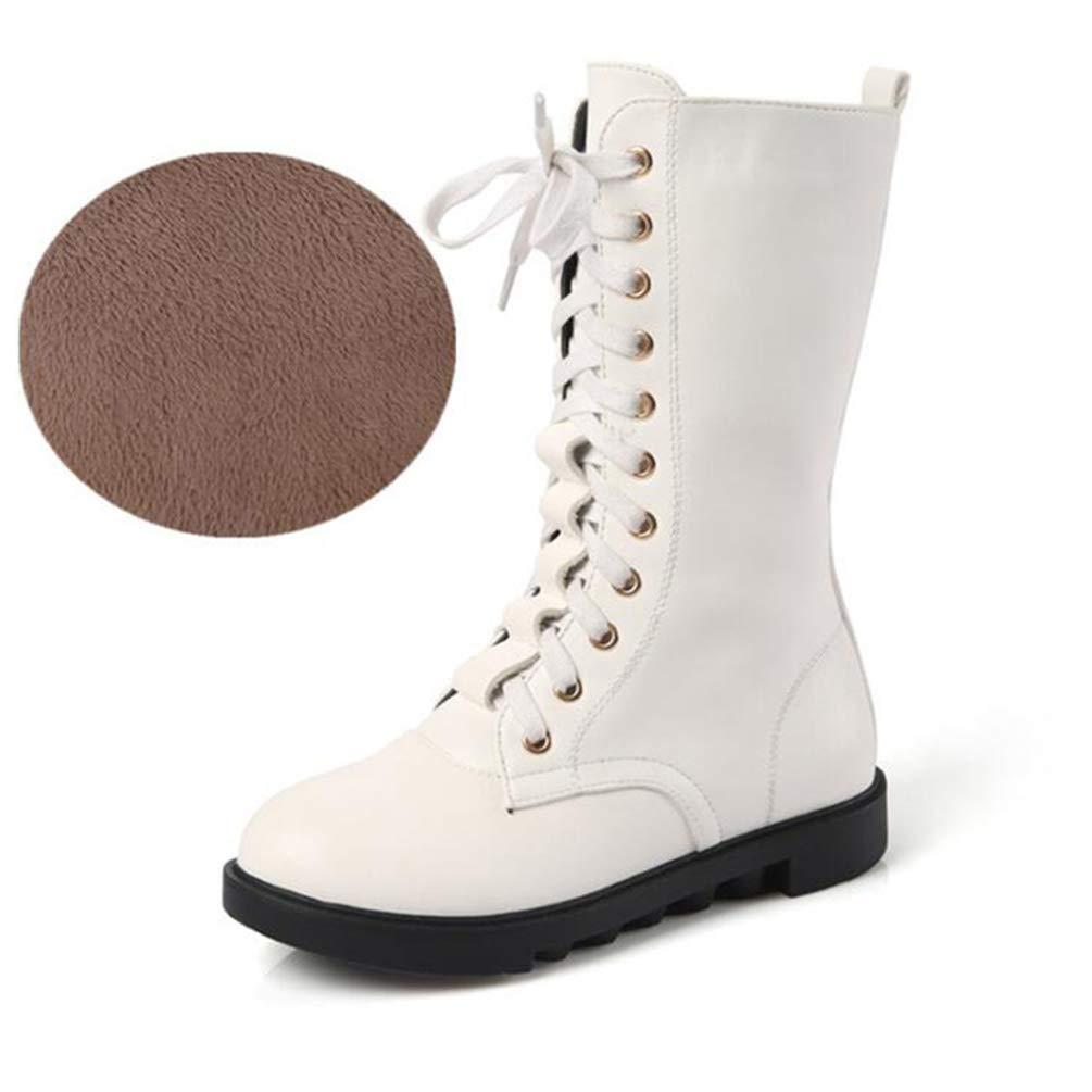 ZHRUI Mädchen Stiefel Kniehohe Stiefel Mädchen Seitlicher Reißverschluss Schwarz Weiß Rot Herbst Casual Stiefel Winter Warm Plus Samt Stiefel (Farbe   Weiß A, Größe   2 UK) 2a9150