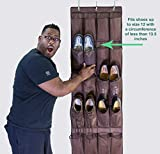 Over the Door Shoe Organizer with 24 Pockets to Declutter Your Closet, Garage, Bedrooms, Dorm, RV, Hallway, Entryway and Make Finding Your Shoes a Snap, Includes FREE E-Book With Organizing Tips