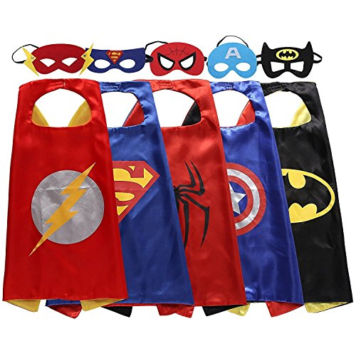 [Keistore Cape and Mask Set of 5 Superhero Dressing Up Costumes for Kids, Birthday party game] (Iron Man Shirt And Mask Costumes)