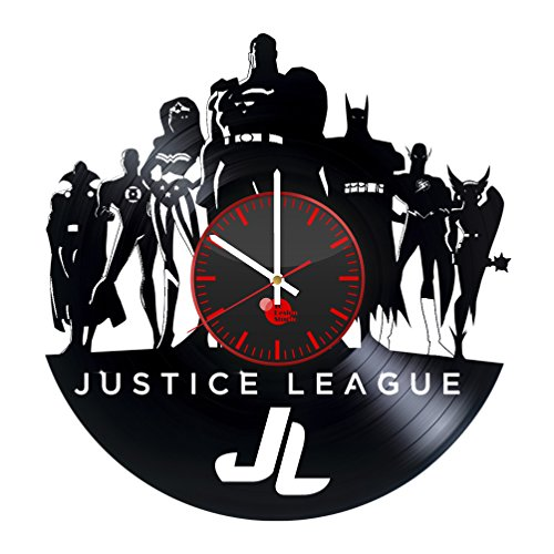 Superhero Bedroom Vinyl Record JUSTICE LEAGUE Wall Clock – Get unique room decor – Gift ideas for men, boys and girls – Unique DC COMICS fan art design – Leave us a feedback and win your custom clock