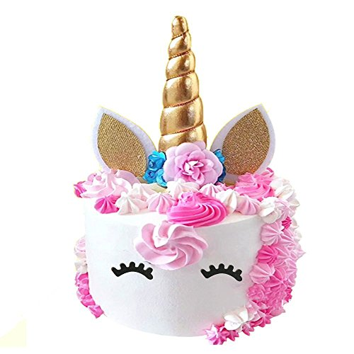 PalkSky Handmade Gold Unicorn Birthday Cake Toppers set. Unicorn Horn, Ears and flowers Set. Unicorn Party Decoration for baby showerwedding and birthday party