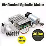 Konmison 1Set DIY Mini CNC 300w DC Spindle Motor + 52MM Clamp + 110V Power Converter + 13 PCS ER11 Collect