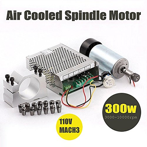 - Beauty Star 1Set DIY Mini CNC 300w DC Spindle Motor + 52MM Clamp + 110V Power Converter + 13 PCS ER11 Collect