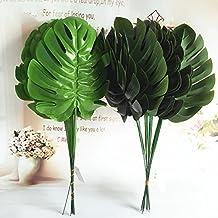 Lopkey Fake Silk Tropical Palm Leaves Artificial Turtle Leaf Green Plant,10pcs