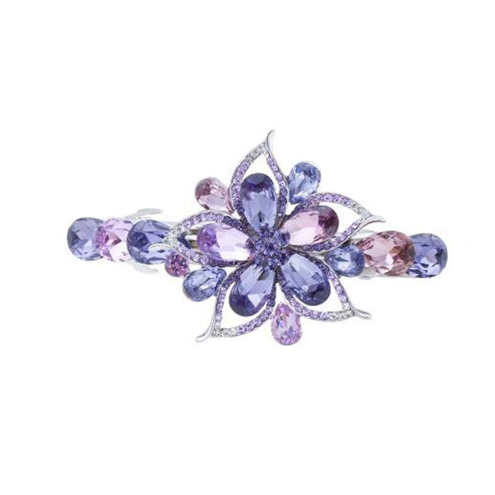 MINRUIGONGMAO Hair Clips, Beautiful Hair Clips, A Word Clip Headgear, Rhinestone Cross Clip Back Head Clip, Elegant Ladies Hair Clip Decorations, (Color : Purple) by MINRUIGONGMAO