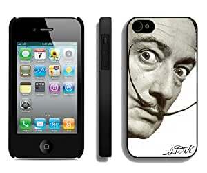 New Unique And Popular iPhone 4 Case Designed With dali mustache Black iPhone 4 Cover