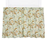 Ellis Curtain Valerie Jacobean Floral Print Tailored Tier Pair Curtains, 68 by 36-Inch, Spa