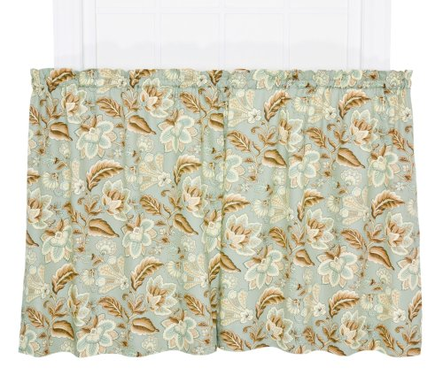 Ellis Curtain Valerie Jacobean Floral Print Tailored Tier Pair Curtains, 68 by 36-Inch, Spa (Print Jacobean Floral)