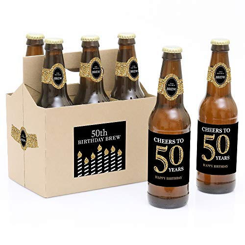 - Adult 50th Birthday - Gold - Birthday Party Decorations for Women and Men - 6 Beer Bottle Label Stickers and 1 Carrier