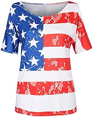 e6eee9fe5 Amazon.com : Franterd Plus Size Shirt for Women Casual Stripes Star Print  4th of July Tee American Flag Patriotic Short Sleeve T-Shirt Tank : Sports  & ...