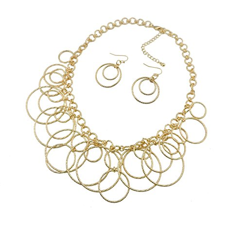 Bocar Handmade Chain Hoops Statement Simple Short Necklace for Women (NK-10208-gold)