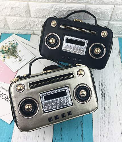 retrò cuoio della catena patta spalla Unico radio della elaborazione donne Rosa crossbody del della borsa Moda bag borsa della dell'unità Oro delle messenger signore box Pnizun con di 5ZI7YWwqg