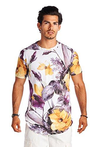 Forever21 21 Men White Purple Yello Crew Neck Short Sleeve Shirt