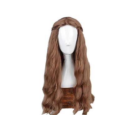 Peluca Larga y Ondulada Cosplay de Thrones Marrón Oscura Pelucas para Mujeres con Redecilla Wig Accesorio