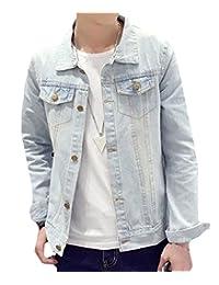 HEMAY Men's Casual Denim Jacket Rugged Wear Slim Thin Cowboy Coat