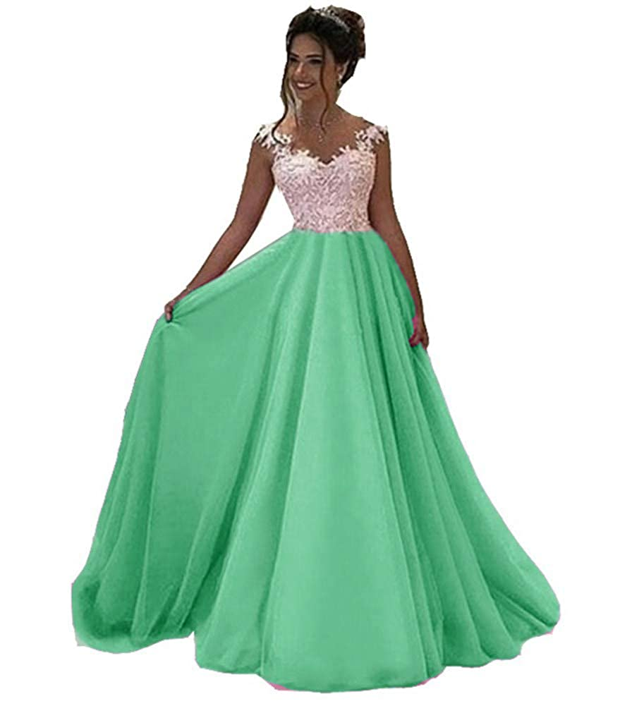 Green Honeydress Women's VNeck Long Sleeveless Lace Ball Gown Satin Gown for Formal Occasion