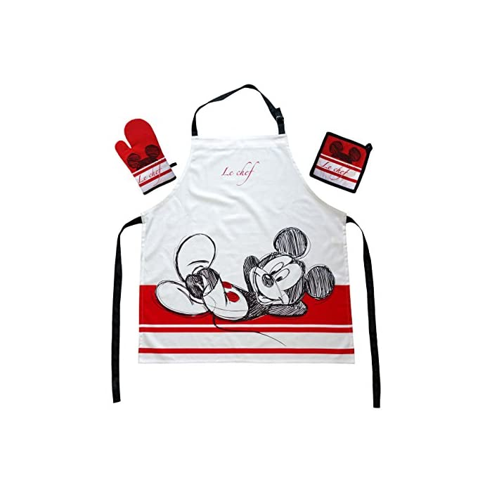 51O 8ntUpBL Original Disney Mickey Mouse kitchen set in three parts 100% cotton high-quality apron set with oven glove and potholder size individual adjustable - for adults