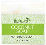 Herbalove Coconut Natural Handmade Soap Bar, Blends With Vegetable Glycerin, Vitamin E, Jojoba Oil, Pure Honey And Natural Ingredients, Perfect For All Skin Types