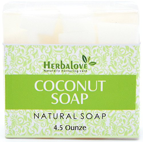 Herbalove Coconut Natural Handmade Soap Bar, Blends With Vegetable Glycerin, Vitamin E, Jojoba Oil, Pure Honey And Natural Ingredients, Perfect For All Skin - Is Or Cool My Warm Skin