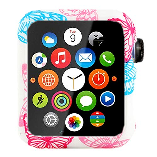 Floral Silicone Case for Apple Watch Series 4 3 2 1 Bumper Resistant Impact Resistant Protective for Apple Watch 38mm 40mm 42mm 44mm (42mm, Watch Case 1)