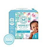 The Honest Company Super Club Box Diapers - Newborn Diapers, Size 1 - Rose Blossom & Bunnies Print | TrueAbsorb Technology | Plant-Derived Materials | Hypoallergenic | 160 Count