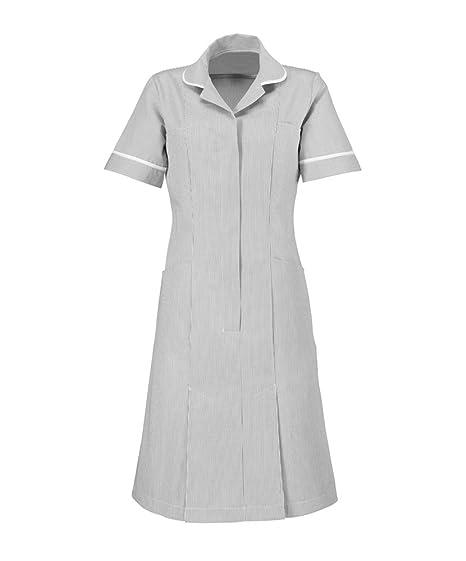 Alexandra al-st297pg-92u rayas vestido, Unhemmed, ribete de tuberías/blanco, 92 cm pecho (tamaño 12), color gris/blanco: Amazon.es: Industria, ...