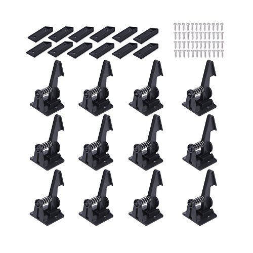 Child Safety Cabinet Locks Latches - 12 Pack,Kids Baby Proofing Lock Child Proof Drawer Locks - Cupboard Hidden Latch - 3 M Adhesive,Door Spring Lock - No Tools,Drill (Black) by Vkania