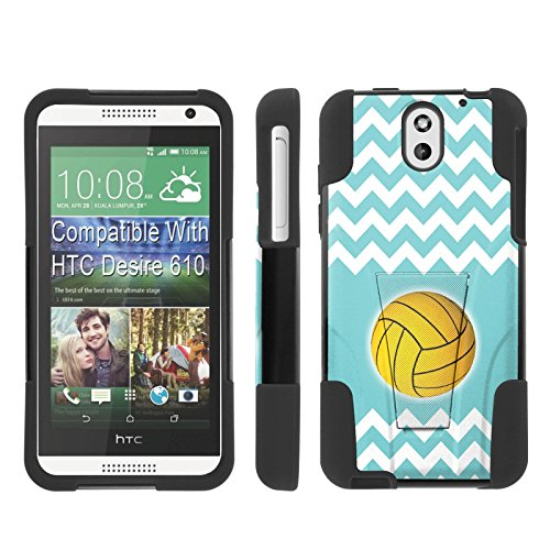 [ArmorXtreme] Case for HTC Desire 610 [Black/Black] [Hybrid Armor KickStand Dual Layer Protection Case] - [Teal Chevron - For Teal Desire 610 Cases Htc