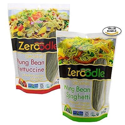 Zeroodle, Organic/Non GMO, Soy Bean, Black Bean, Mung Bean Fettuccine and Spaghetti Vegan Gluten Free Pasta Bundle Pack (2x7.05 oz.)